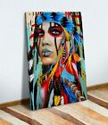 Canvas Wall Art Print Picture Abstract Painting NATIVE AMERICAN INDIAN WOMAN