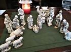 Vintage Ceramic Christmas NATIVITY SET 16 Pieces Antique White w Gold Stenciling