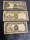 3 WWII THE JAPANESE GOVERNMENT PESO Paper Money 1 5 10 LOT OF 3