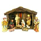 Vintage Nativity Scene Set Chalkware With Stable 11 Piece Christmas Decor