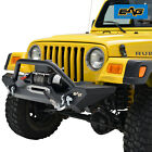 EAG Front Bumper W Winch PlateD Rings Black Fit for 87 06 Jeep Wrangler TJ YJ