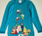 Quacker Factory Embroidered Blue Christmas Nativity Holiday Sweater Small S