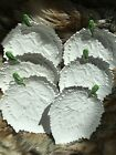 6 WHITE GLAZED LEAF PLATES DESSERT LUNCHEON CANAPE HORS DOEUVRES ACCENT MADE IN