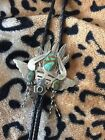 UNIQUE NATURAL 3 TURQUOISE STERLING SILVER NATIVE AMERICAN BOLO TIE NECKLACE