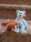 2 TY Beanie Babies Plush Eggs the Bear & Ears the Rabbit Bunny Easter Retired