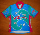 Vintage Nashbar Blue Aqua Pink White Abstract Womens MTB Cycling Jersey Size XL