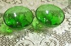 2 Anchor Hocking Forest Green Burple Tall Sherbet Champagne Stems Glasses Boopie