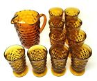 Vintage Amber Indiana Glass Footed Whitehall Colony 11 Piece Set! Mint Condition