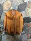 Vtg BUCKSKIN FRINGE LEATHER Native Hippie Antler JACKET WOMENS M Mens S