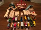 Large Lot of 64 Used Thomas Wooden Railway Trains, Tracks and Bridges