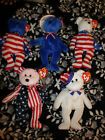 5  PATRIOTIC TY BEANIE BABY BABIES SPANGLE BENJAMIN 2 LIBERTY SAM