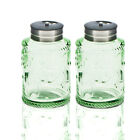 Solid Color Glass Salt and Pepper Shakers Set With Stainless lid Green