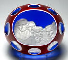 Baccarat 1976 Mount Rushmore Sulphide Paperweight with Double Overlay Blue Grnd