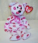 Ty Beanie Babies Kissy White Bear with Pink and Red Kisses 2003