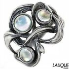 Lalique Bramble Ring 58 size 85 Hearts Crossing 3 Cabochon vintage sterling MIB