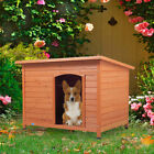 41 Wood Waterproof Slant Roofed Large Dog House Pet Cage Kennel Cabin Outdoor