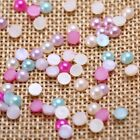 3000 x Mixed Color Half Pearl Round Bead 4mm Scrapbook for Craft Flat Back US