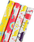 WRAPAHOLIC Gift Wrapping Paper Roll Dinosaurs Robot Cars Cute Design for Birth