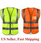 Neon Safety Vest W High Visibility Reflective Stripes Orange Yellow