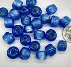25pc Lampwork Glass Blue w Silver Foil 12x8mm Crow Beads 35mm Hole Large