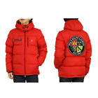 Polo Ralph Lauren Hooded Down Puffer Jacket w Emblem Patch Back Red