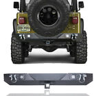 For 87 06 Jeep Wrangler TJ YJ Rear Bumper with LED Lights+Hook Receiver+D ring