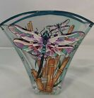Floral Vase AMIA 6 High Dragonflies Bamboo Hand Painted Glass Blue