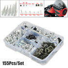 155Pcs/Set Universal Motorcycle Shell Fairing Bolt Plate Screws Nut M5 M6 Thread