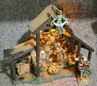 FONTANINI Lighted Stable 50154 Nativity Set 5 Scale 9 Pieces EUC