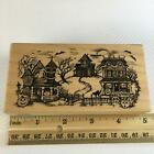 PSX Halloween Village K1886 Rubber Stamp Haunted Houses Ghosts Cat XX RARE