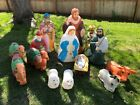 Vintage Blow Mold Xmas Christmas Nativity Manger Scene Lawn Ornaments