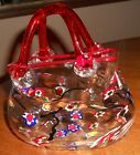 MURANO STYLE GLASS PURSE WITH FLORAL MOTIF
