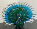 Large Murano Style Art Glass Peacock Paperweight Figurine Fanned Plumage