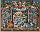 Christmas Nativity Scene Stained Glass Counted Cross Stitch COMPLETE KIT