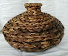 Hand Woven Reed Vase Urn Style Basket 16 Wide 12 Tall Great Condition