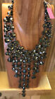 Christian Siriano Black  Pewter Czech Glass Crystal Fringe Statement Necklace
