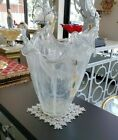 Murano Glass Flower Vase Italian Centerpiece White and Clear
