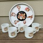 Fire King Vtg. Promotional Esso Exxon Tony The Tiger Tray Set 5 coffee Cup/Mugs