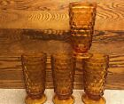 4 Indiana Colony Whitehall Cubist Iced Tea Footed Amber Glasses NICE Narrow Rim