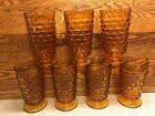 7 Indiana Colony Whitehall Cubist Iced Tea Footed Amber Glasses NICE Wide Rim
