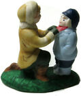 Lemax Village Figure Ceramic Mother Tying Scarf on Little Boy Son's Neck