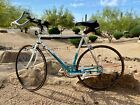 BIANCHI VINTAGE ROAD BIKE WITH CLIP ON PEDALS AND ADJUSTABLE AERO BARS ARM RESTS
