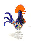 Art Glass Rooster Hand Blown Figurine Speckle Confetti Body 95 inches Tall
