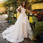 Mermaid Wedding Dress With Beading Crystal Detachable Train Lace Wedding Gowns