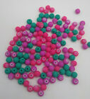 52pc Glass Bead w Rubberized Coating 6mm Hot Pink Beads LAST SET CLEARANCE