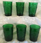Lot Of 6 Anchor Hocking Forest Green Sandwich Glass 5 Oz Flat Juice Tumblers