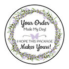 30 15 LAVENDER FLOWERS WREATH THANK YOU ORDER ENVELOPE SEALS LABELS STICKERS