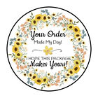 30 15 SUNFLOWER FLOWERS WREATH THANK YOU ORDER ENVELOPE SEALS LABELS STICKERS