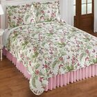 Pink Spring Flowers and Butterflies Quilt w Matching Shams King Size