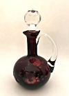 Vintage Curet Deep Red Cut to Clear Bohemian Glass w Faceted Stopper 7 Tall